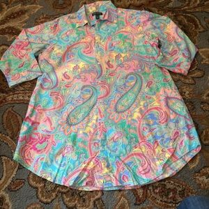 LRL Paisley Button Down 3/4 Sleeve